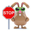 Chocolate bunny and Stop sign