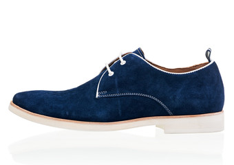 Blue men shoe isolated over white