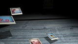 Instant photos falling on wooden boards