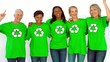 Women dancing and wearing green shirt with recyclable symbol