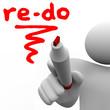 Re-Do Word Written on Board Marker Man Redo Change