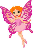 Illustration of a beautiful pink fairy