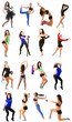 Young woman exercising collage - yoga,fitness,pilates,aerobics