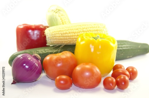 Bright healthy vegetables isolated on white background
