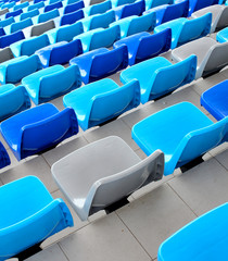 Blue seats at stadium