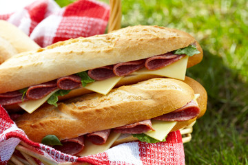 Long baguette sandwiches with salami and cheese