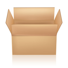 open carton box on white