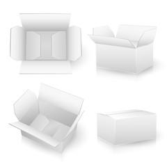 set of white carton boxes on white