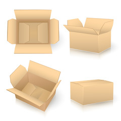 set of carton boxes on white