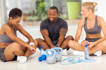 group of people relaxing after exercise