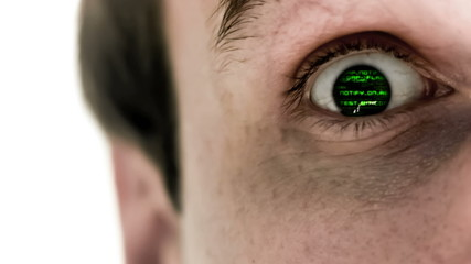 Man opening his eye to reveal green scrolling data
