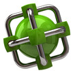 Green network and globalization icon on white background