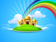Golden Mosque and Masjid in the sky on rainbow and clouds backgr