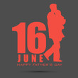 Red silhouette of a father and child with text 16th June on gre
