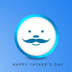 Happy Fathers Day concept with a smiling face of a father on bl
