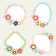 Beautiful floral decorated photo frames in different shapes.
