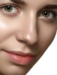 Spa beauty with pure skin. Beautiful model with natural make-up