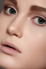 Spa, skincare, wellness & health. Close-up beautiful model face