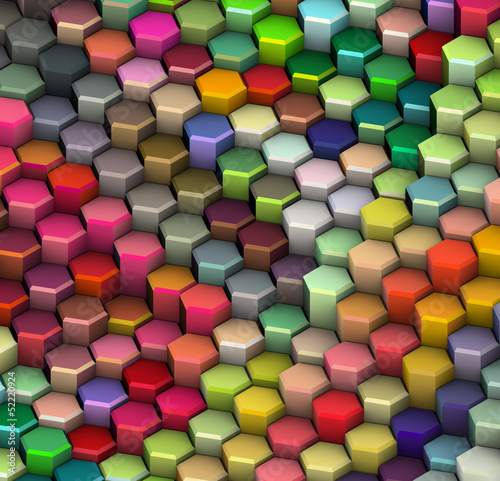 3d hexagon shape in rainbow color