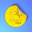 Summer sale concept with palm trees and sun design on sticker, l