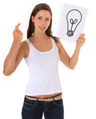 Attraktive junge Frau hat eine Idee