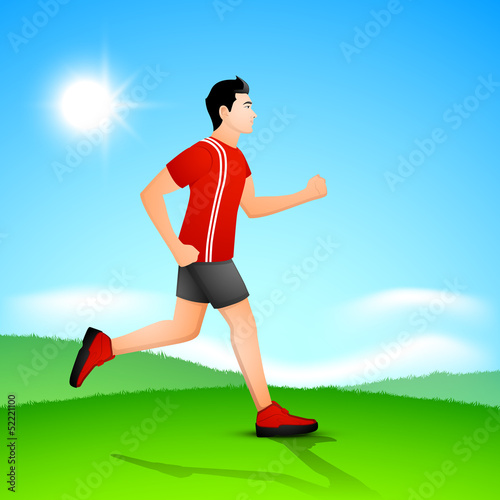 Young guy running in the morning, beautiful summer background.