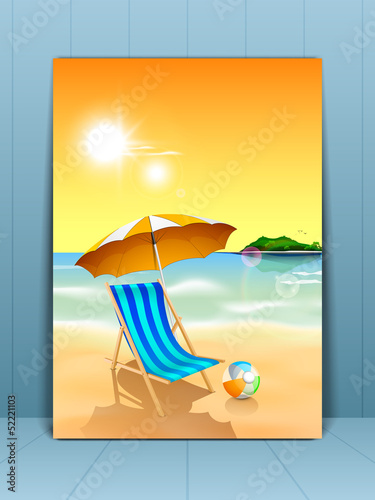 Summer holidays concept with beach chair at seaside in morning t