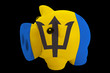 piggy rich bank in colors national flag of barbados   for saving