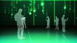 Futuristic animation with holograms of business people