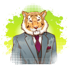 Realistic cartoon tiger wearing a tuxedo