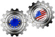 USA and Europe Flags on a Gears