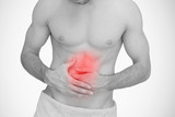 Man with highlighted red stomach ache
