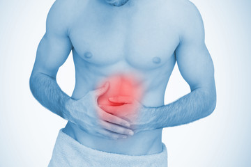Man with highlighted stomach ache