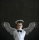Boy business man with angel or investor wings and halo poster