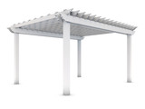 White wooden pergola on the white