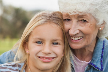 Portrait of little girl with granny