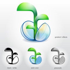 Sprout of plant grow up from stylized seed. Vector logo design