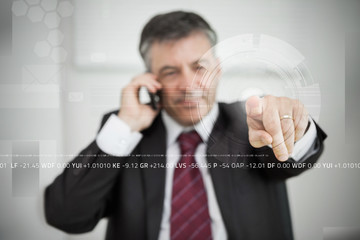 Businessman touching point on touchscreen