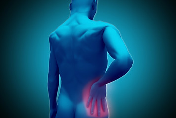Digital human rubbing lower back pain