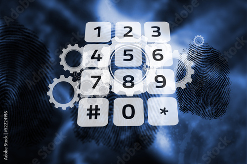 Keypad on digital cog and wheel background