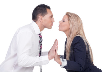 Couple making up and preparing to kiss