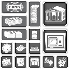 finance banking squared icons