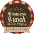 Business lunch vector sticker