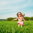 little girl  on the field