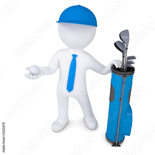 3d white man holding a golf ball