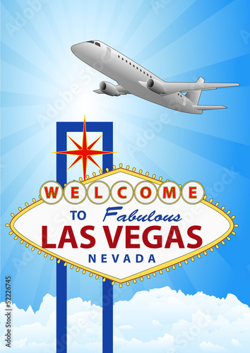 Fototapeta las vegas and airplane