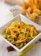 pasta with zucchinis flower and saffron, selective focus