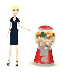 3d render of cartoon character with bubblegum machine