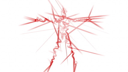 Standing figure made from dynamic lines.