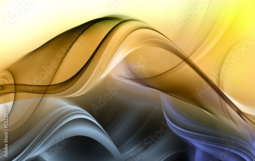 Abstract blue and yellow waves